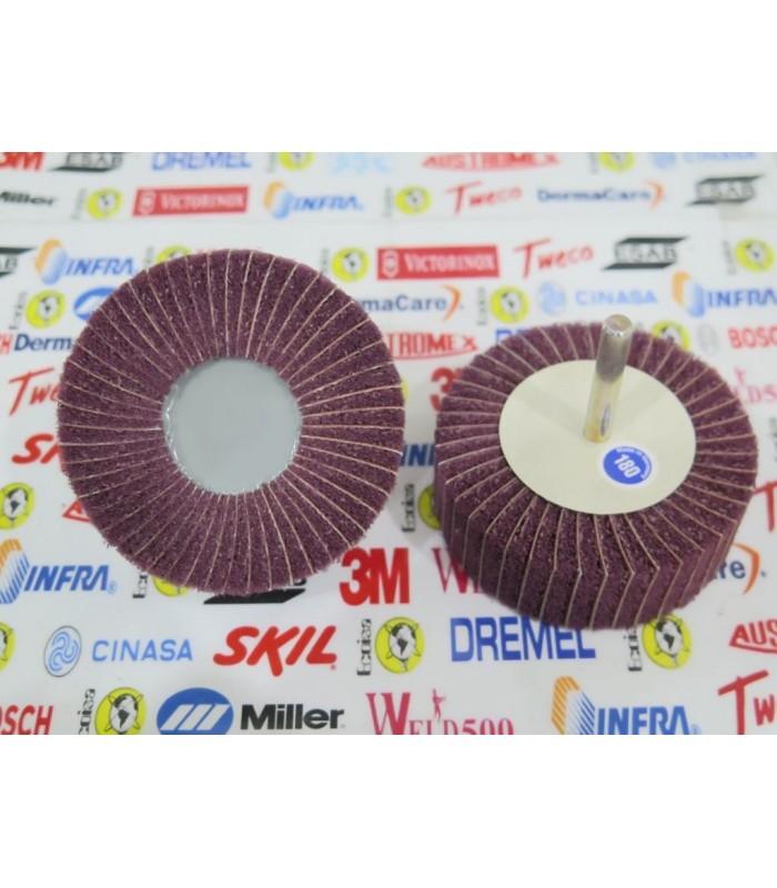 """1602-Rueda flap con fibra 3"""" X 1"""" C/V 1/4"""" G180"""